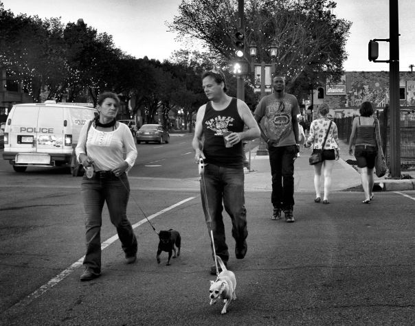 hedy bach photography ~ FUJI x100  ~ edmonton whyte ave. ~ ppl and dogs