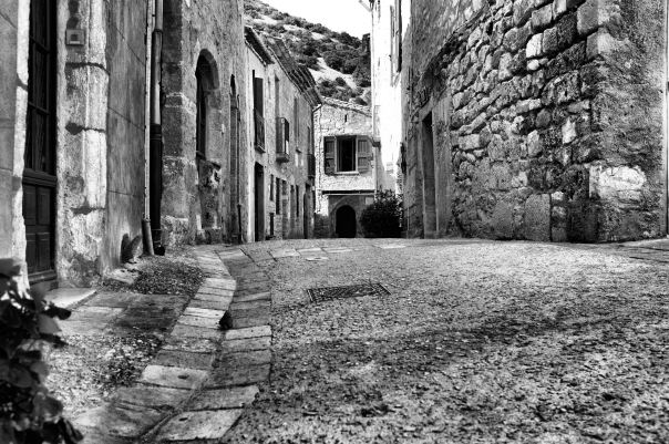 hedy bach photography ~ Sloppy Buddhist ~ fijifilm100 ~ St Guilhem-le-Deser  b&w 2