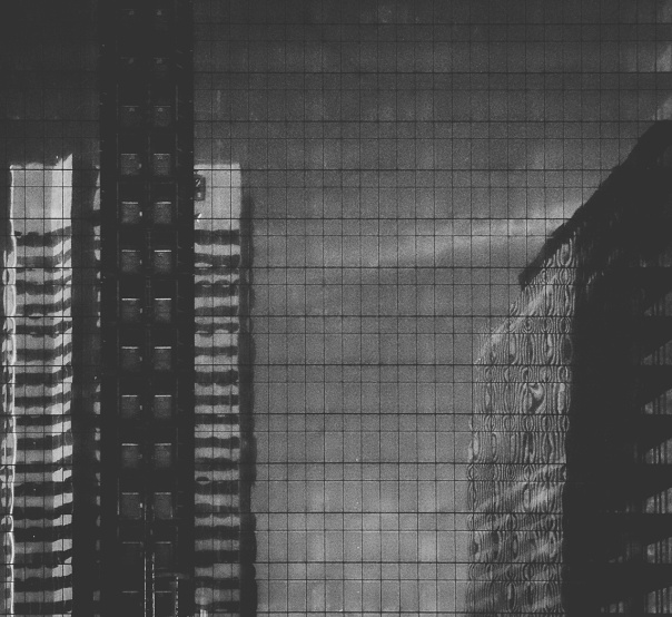 hb images - reflect buildings b-w - 3